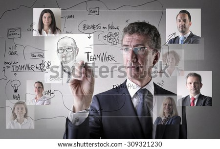 Manager drawing business plans