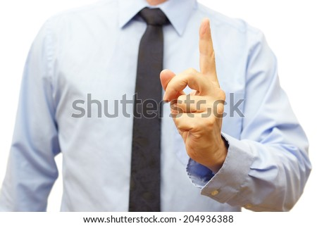 Manager during the meeting shows  be careful sign - stock photo