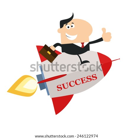 Manager Flying On The Rocket And Giving Thumb Up.Flat Style Raster Illustration With Text - stock photo