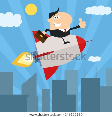 Manager Flying Over City And Giving Thumb Up.Flat Style Raster Illustration - stock photo