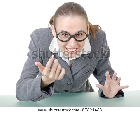 manager girl is engaged clowning in sham spectacles - stock photo