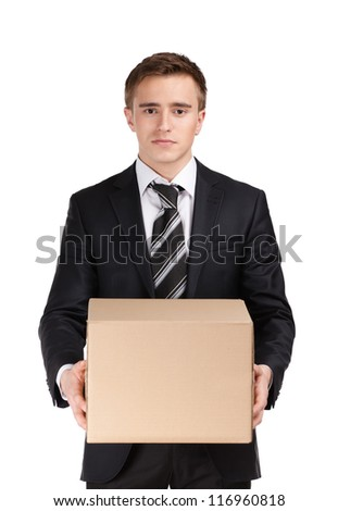 Manager in suit holding parcel, isolated on white