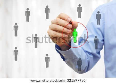 Manager is choosing competence person - stock photo