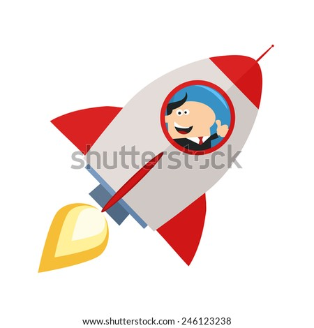 Manager Launching A Rocket And Giving Thumb Up.Flat Style Raster Illustration Isolated On White - stock photo