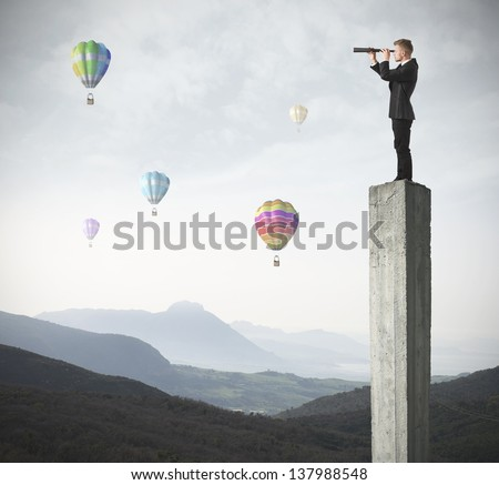 Manager looks for new business and opportunities - stock photo