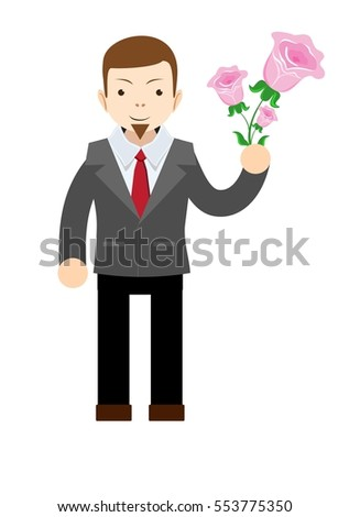 Manager or businessman with flowers. Happy birthday, Valentine's Day. Flat isolated illustration