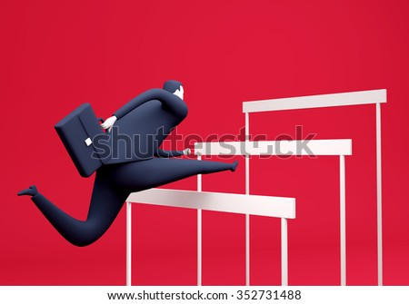 Manager overcoming obstacles. Business illustration. Render - stock photo