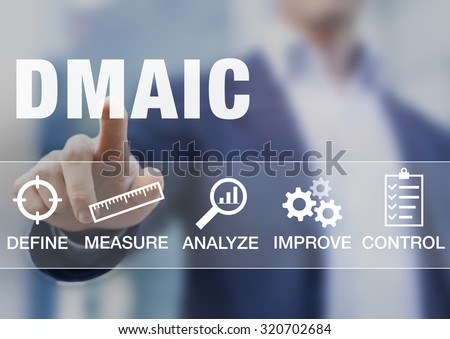 Manager presenting DMAIC continuous improvement tools for process quality - stock photo