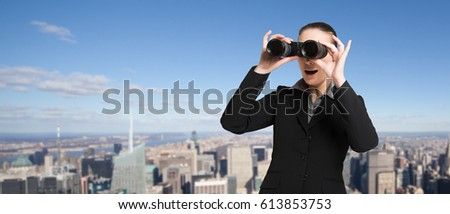 Manager searching for new opportunities using binoculars