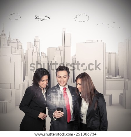 Manager shows the projection of the building - stock photo