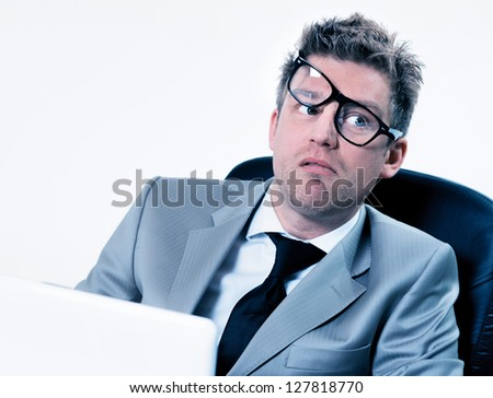manager very stressed at work - stock photo