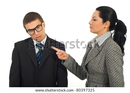 Manager woman accuse dump employee isolated on white background - stock photo