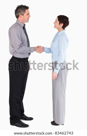 Managers shaking hands against a white background - stock photo