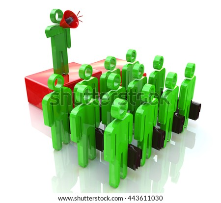 Managing a team of office workers in the design of information related to communication and business. 3d illustration - stock photo