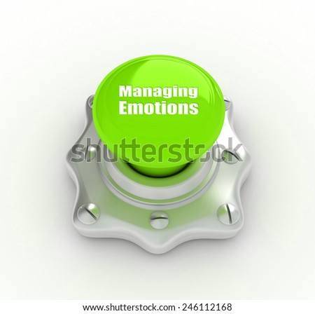 Managing Emotions Button - stock photo