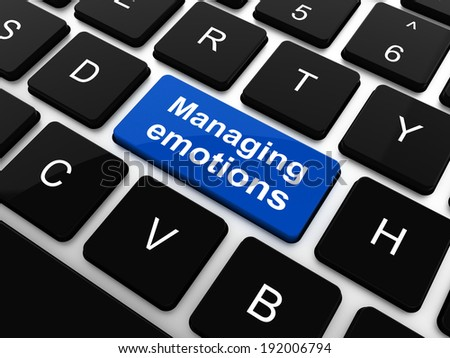 Managing Emotions Concept. White Button on Blue Background in Flat Design Style. - stock photo