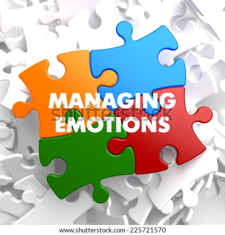 Managing Emotions  on Multicolor Puzzle on White Background. - stock photo