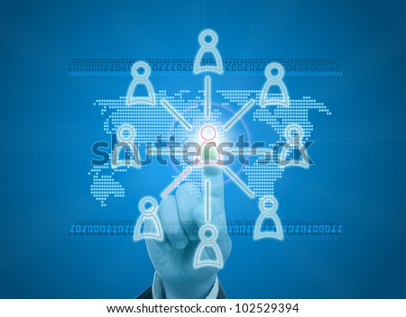 Managing organization or social network in digital age - stock photo