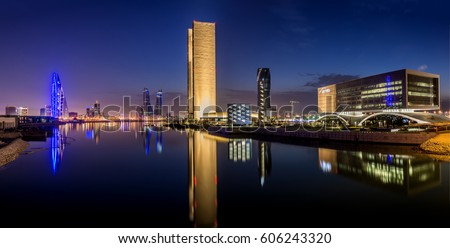 Manama, Bahrain – March 10th 2017 – Panorama View of Manama along Bahrain Bay in Manama, Kingdom of Bahrain.