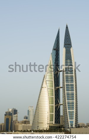 MANAMA, BAHRAIN- MAY 18: Manama - Bahrain World Trade Center and other high rise buildings in Manama City on May 18, 2016, Manama, Bahrain - stock photo