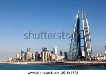 MANAMA, BAHRAIN - NOV 14: World Trade Center skyscraper and skyline of Manama City. November 14, 2015 in Manama, Kingdom of Bahrain