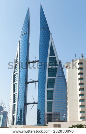 Manama, Bahrain - November 21, 2014: Bahrain World Trade Center - stock photo