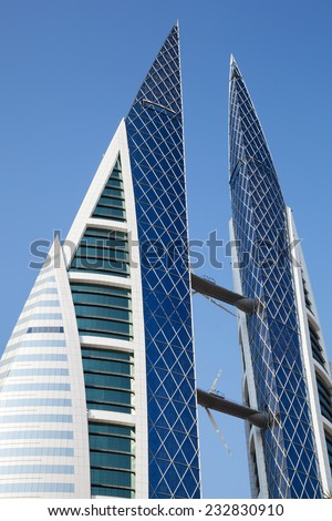 Manama, Bahrain - November 21, 2014: Bahrain World Trade Center facade - stock photo
