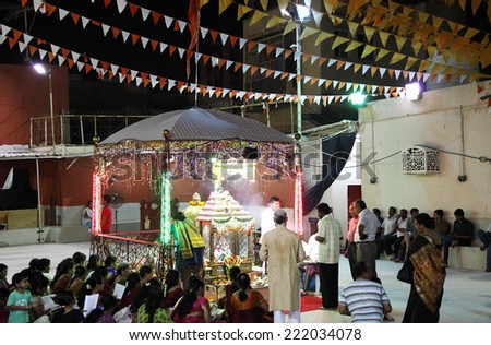 MANAMA , BAHRAIN - OCTOBER 01, 2014 : Durga Puja festival celebration in Manama, Bahrain on October 01, 2014. It is the biggest religious festival of Hindu community.