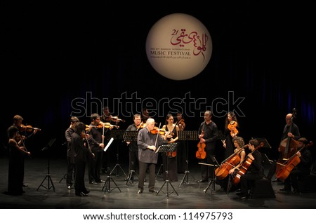 MANAMA, BAHRAIN - OCTOBER 05:  Orquesta De Camara Reina Sofia performs on October 05, 2012 in Bahrain on the occasion of the 21st Bahrain International music festival