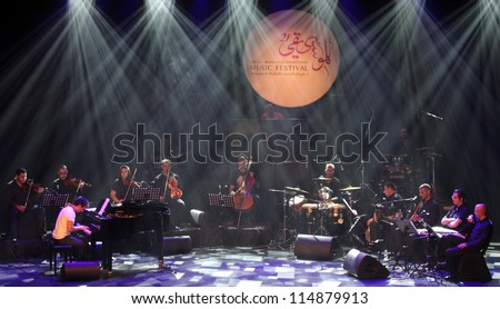 MANAMA, BAHRAIN - OCTOBER 02:  Piano Pop Zade Dirani with his orchestra performs on October 02, 2012 in Bahrain on the occasion of the 21st Bahrain International music festival
