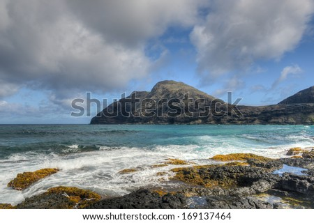Manana and Kaohikaipu Islands, commonly known as Rabbit and Turtle Islands, off the coast of Oahu, Hawaii - stock photo