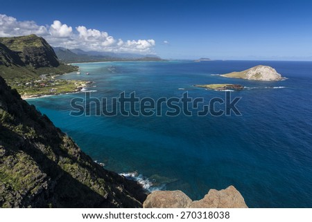 Manana and Kaohikaipu Islands, commonly known as Rabbit and Turtle Islands off the coast of Oahu Hawaii - stock photo