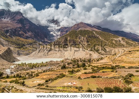 Manang town at Annapurna circuit, Himalaya, Nepal - stock photo