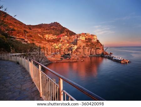Manarola: a small fishing village in Cinque Terre, Liguria, Italy. - stock photo