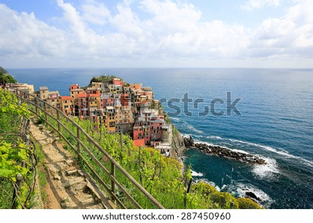 Manarola, Cinque Terre, Italy. Vineyard valley - stock photo