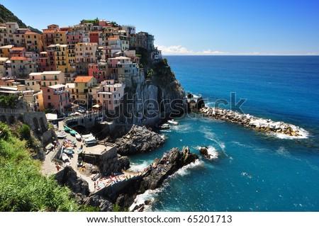 Manarola fisherman village in Cinque Terre, Italy - stock photo