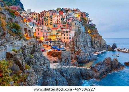 Manarola fishing village in the morning, seascape in Five lands, Cinque Terre National Park, Liguria, Italy.