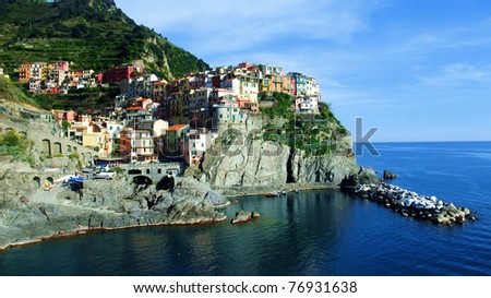 Manarola from the sea, Cinque Terre, Liguria - stock photo