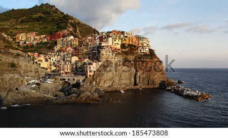 Manarola, small town in Cinque Terre, province La Spezia, Liguria, northern Italy. - stock photo