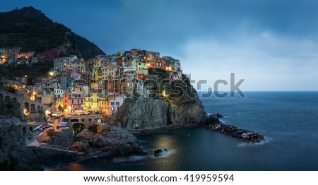 Manarola Sunset Cityscape - stock photo