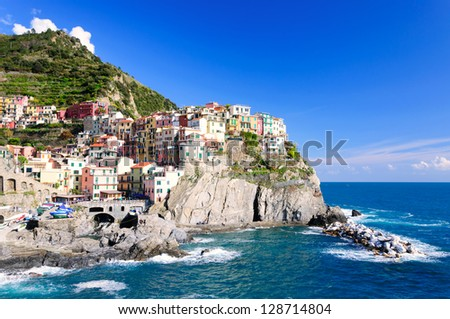 Manarola town of Cinque Terre National Park, Italy - stock photo