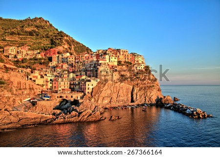 Manarola Village at Sunset, Cinque Terre, Italy - stock photo