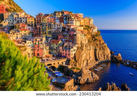 Manarola village at sunset. Cinque Terre National Park, Liguria Italy. - stock photo