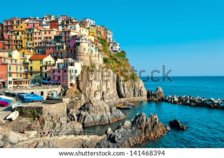 Manarola village, Five lands, Cinque Terre National Park, Liguria Italy - stock photo