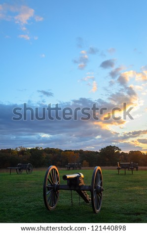 Manassas National Battlefield Park cannons at sunset - stock photo