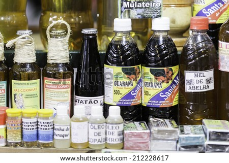 MANAUS, BRAZIL - CIRCA FEB 2014: Natural products in the famous Mercado Municipal Adolfo Lisboa in Manaus, Brazil