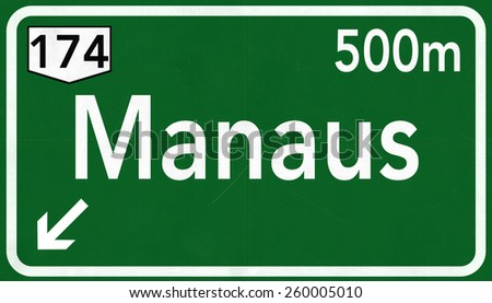 Manaus Brazil Highway Road Sign