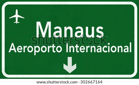Manaus Brazil International Airport Highway Sign 2D Illustration - stock photo