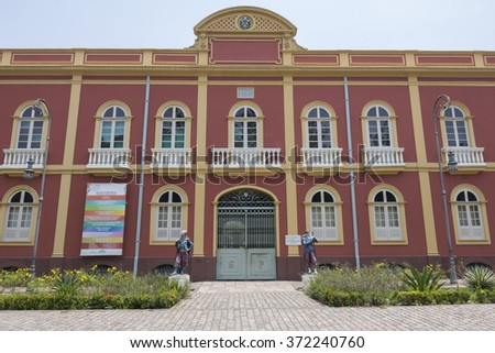 MANAUS, BRAZIL - OCTOBER 18, 2015: Built in 1895, the Provincial Manor House in Manaus was again restored in 2009 by the Eduardo Braga administration and houses several museums and galleries. - stock photo