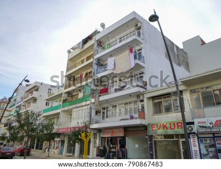 MANAVGAT, TURKEY - JANUARY 2 2018: Buildings and streets of Manavgat town in Turkey, the district of Antalya Province